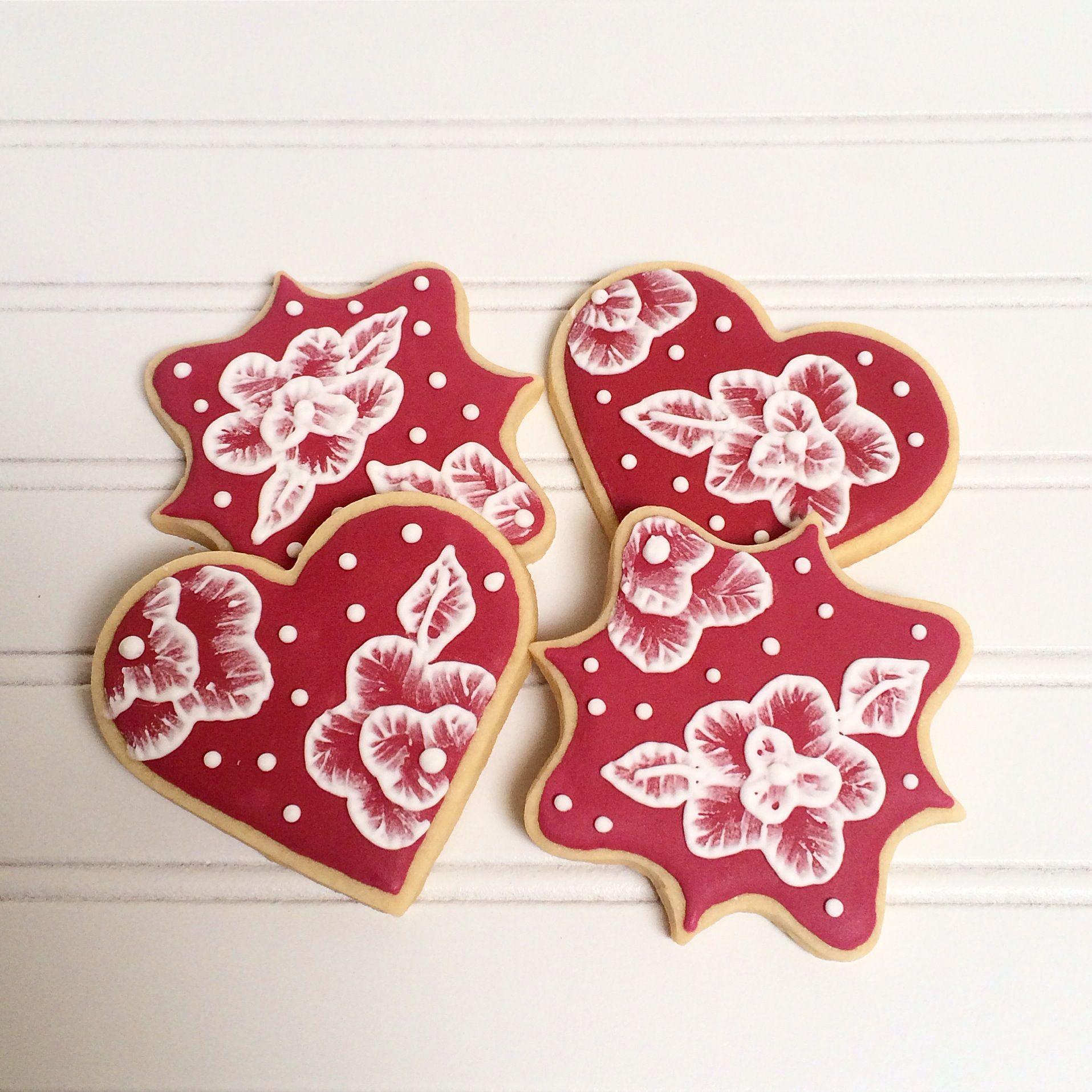 Elegant Floral Cookies / Wedding Favors / Valentine\'s Cookies ...