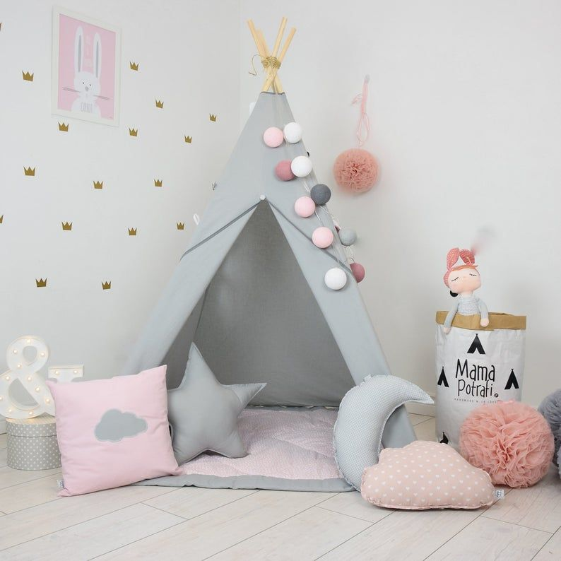Photo of Childrens teepee, playtent, tipi, zelt, wigwam, kids teepee, tent, play teepee, TEEPEE WITH MAT- Fig Princess