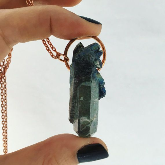Green Aura Quartz Necklace by MyHeartEchoesYours on Etsy