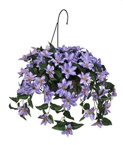 House of silk flowers artificial purple clematis hanging basket house of silk flowers artificial purple clematis hanging basket clematis silk flowers and artificial flowers mightylinksfo