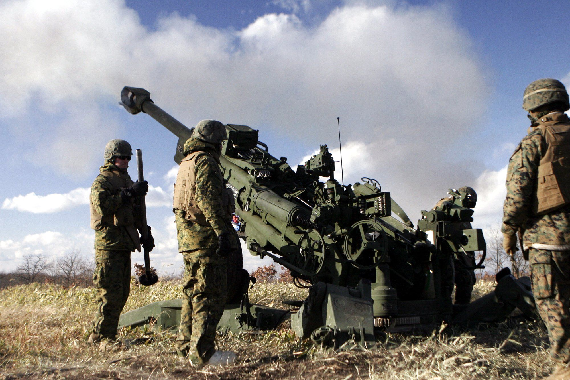 U.S. Marines fire the M777 Howitzer during an annual artillery ...
