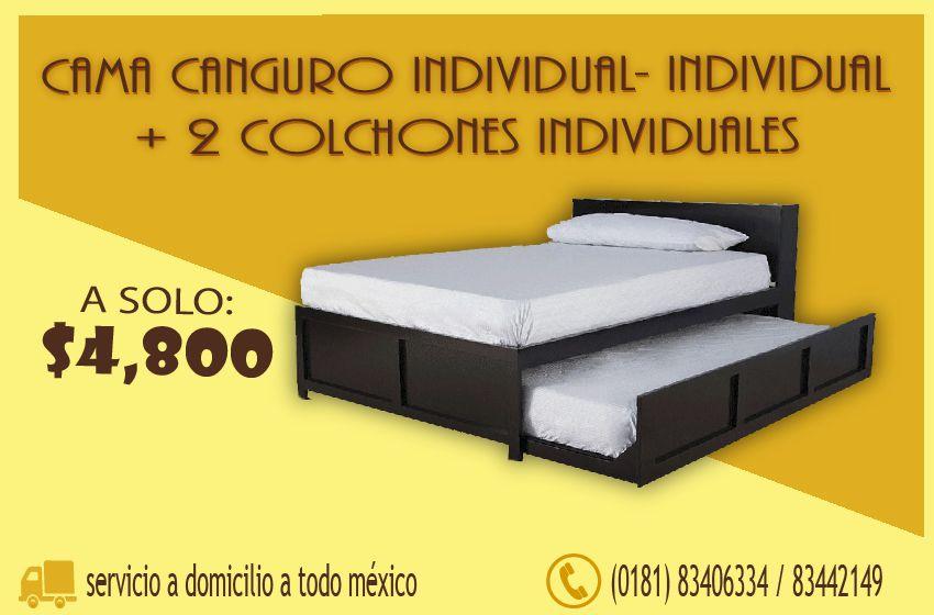 Camas canguro de madera modernos bases para colchon en for Colchones para cama matrimonial