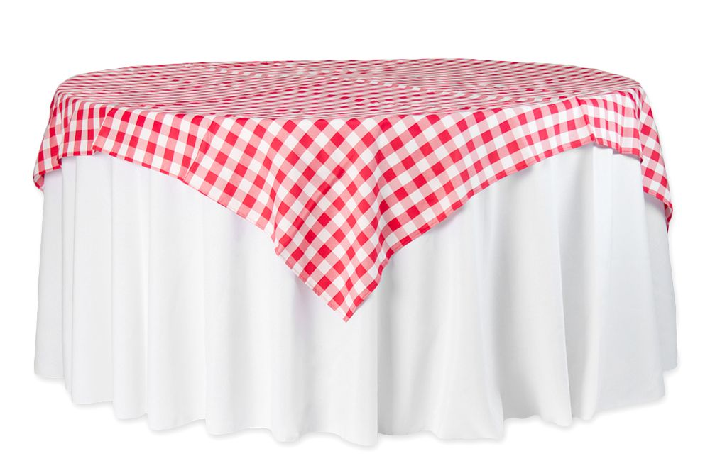 Gingham Checkered Square 70x70 Polyester Overlaytablecloth Red