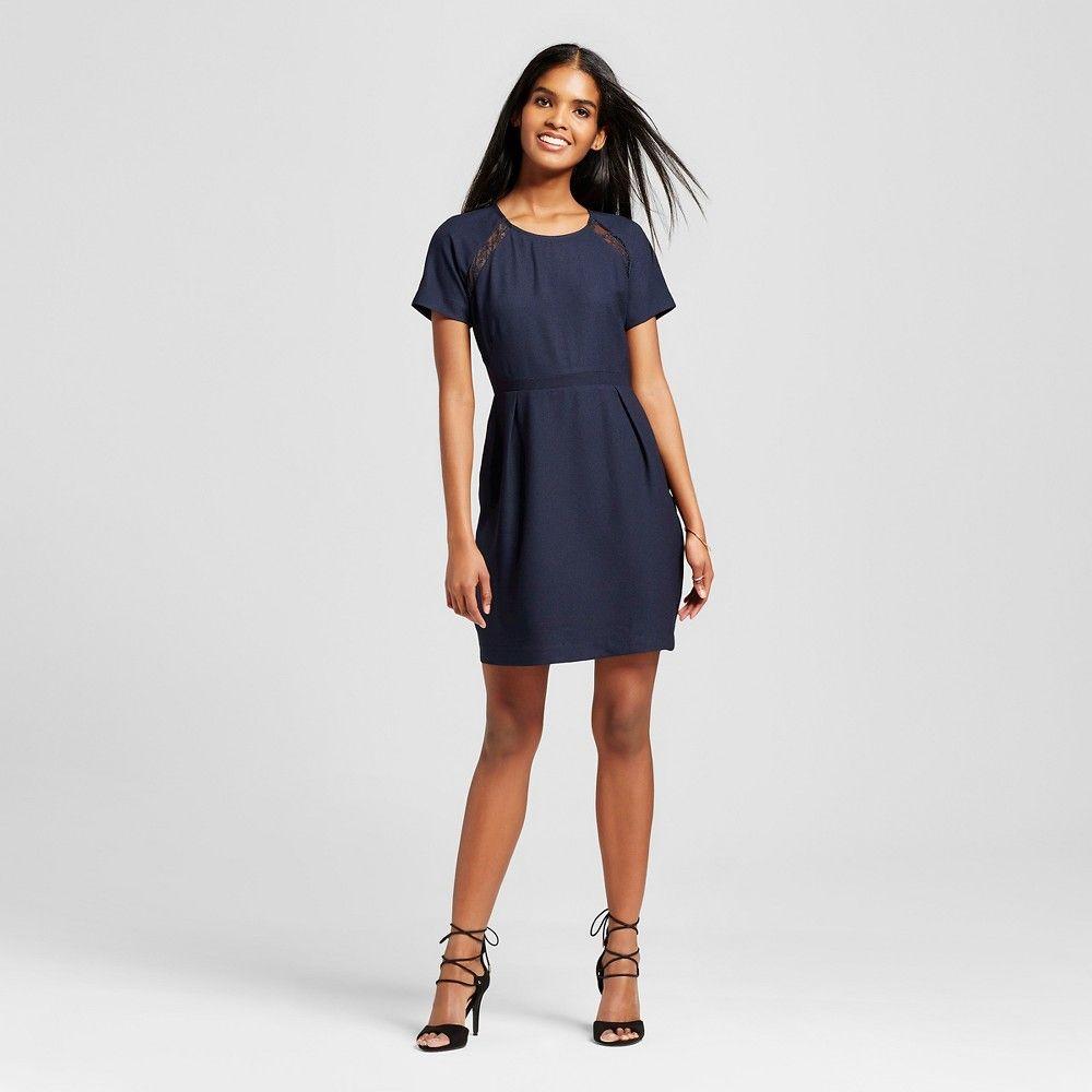 Womenus short sleeve aline dress navy blue m eclair eclairs