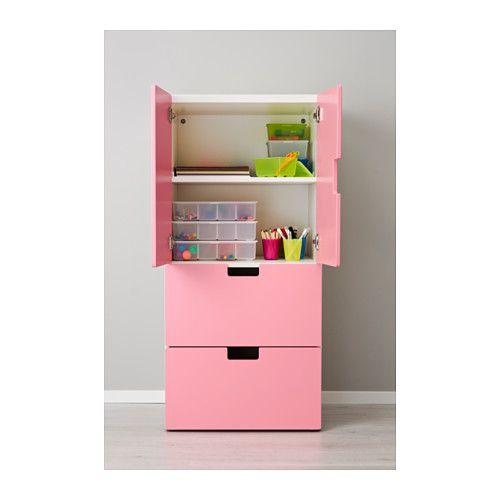 STUVA Storage combination w doors/drawers - white/pink, 23 5/8x19 5 ...