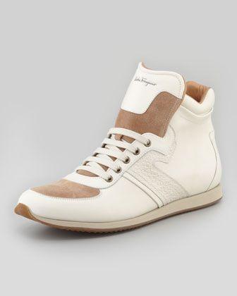 Stanley High-Top Sneaker, Cream by Salvatore Ferragamo at Bergdorf Goodman.