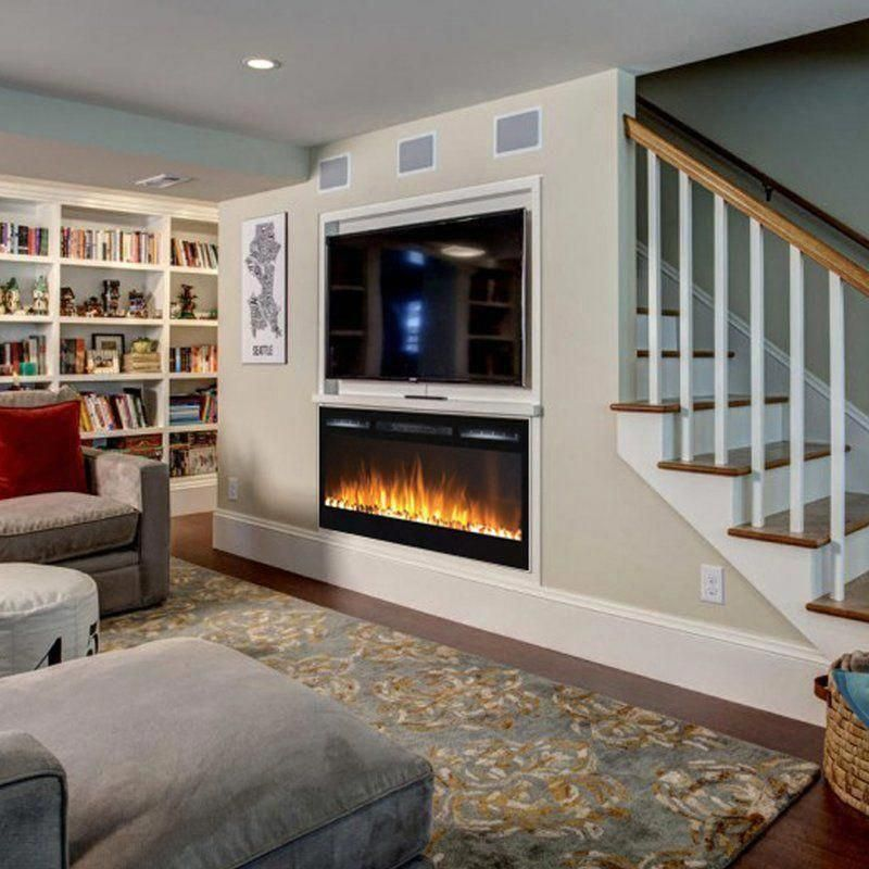 Jemaine Wall Mounted Electric Fireplace In 2020 Basement Remodeling Basement Layout Wall Mount Electric Fireplace