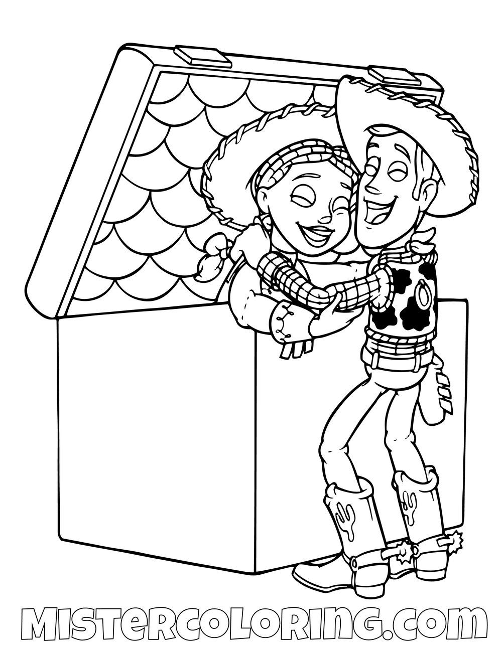 Sheriff Woody Taking Jessie Out A Box Toy Story Coloring Page