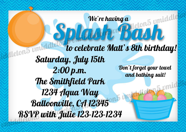 Splash birthday invitations printable splash bash water birthday splash birthday invitations printable splash bash water birthday party invitation print your own 5x7 stopboris Gallery