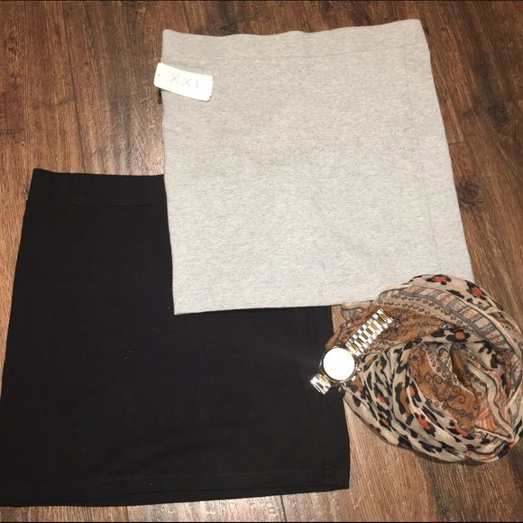2 cotton skirts *Bundle Black and grey cotton skirts Forever 21 Forever 21 Skirts Midi