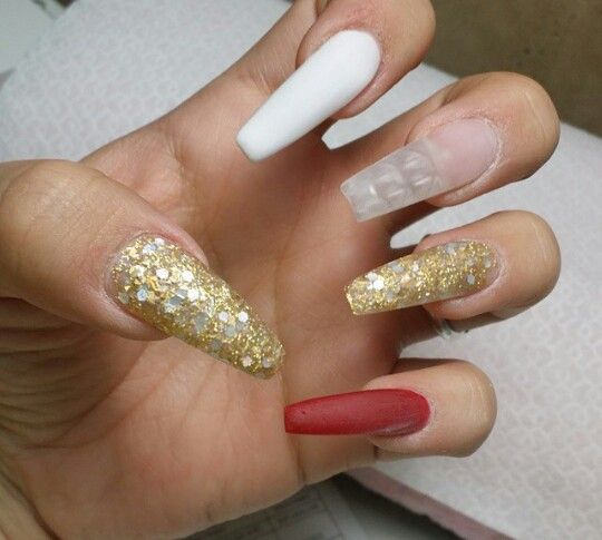 Gold Red White Coffin Nails White Coffin Nails White Nail Designs Coffin Nails Designs