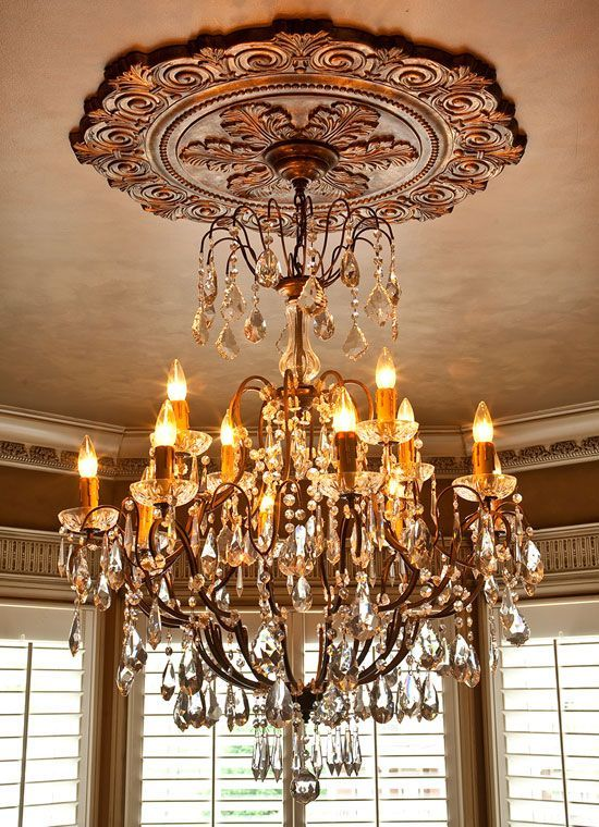 Foyer Ceiling Medallions For Crystal Chandelier Finiched Large