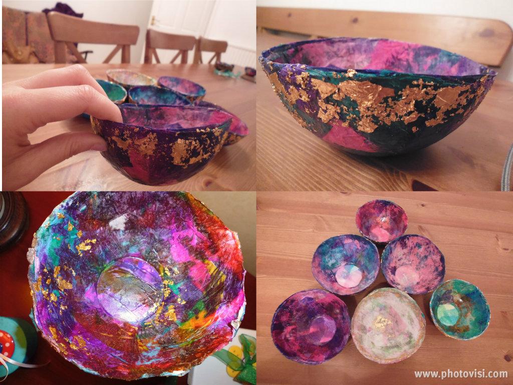 Beautiful Paper Mache Bowls Tissue Paper Easy Diy Colourful Fun