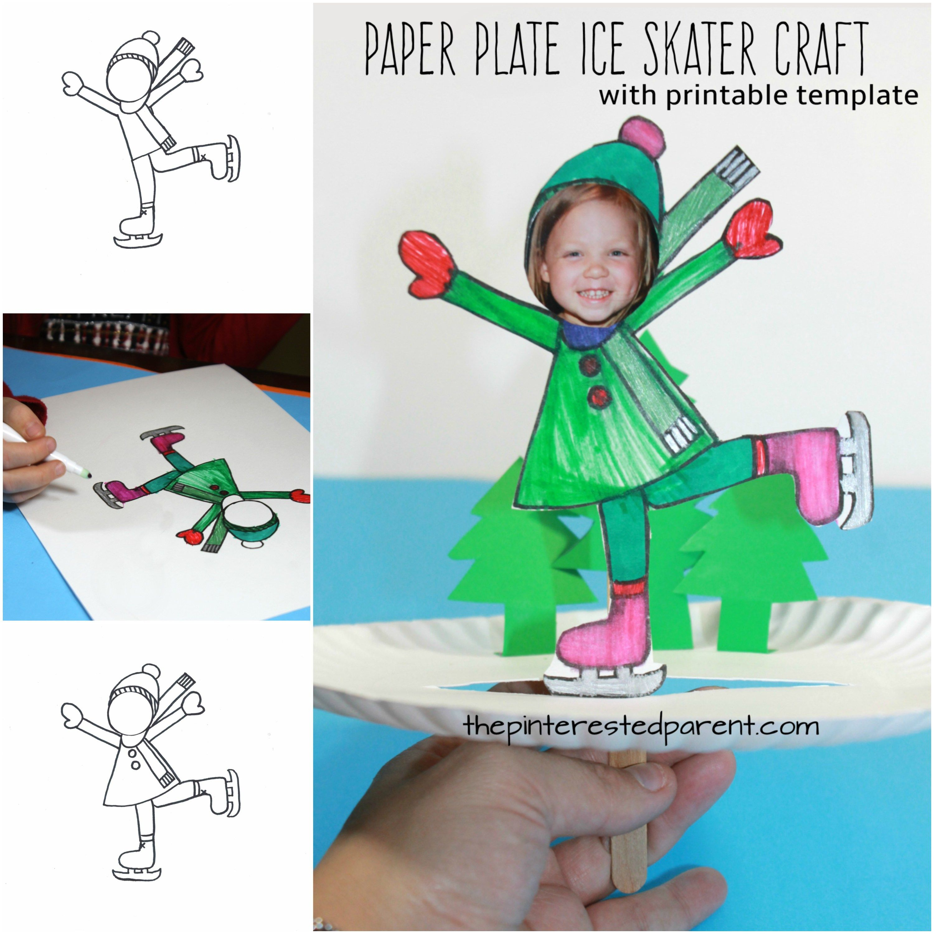 Paper Plate Ice Skate Craft | Christmas art, Template and Winter