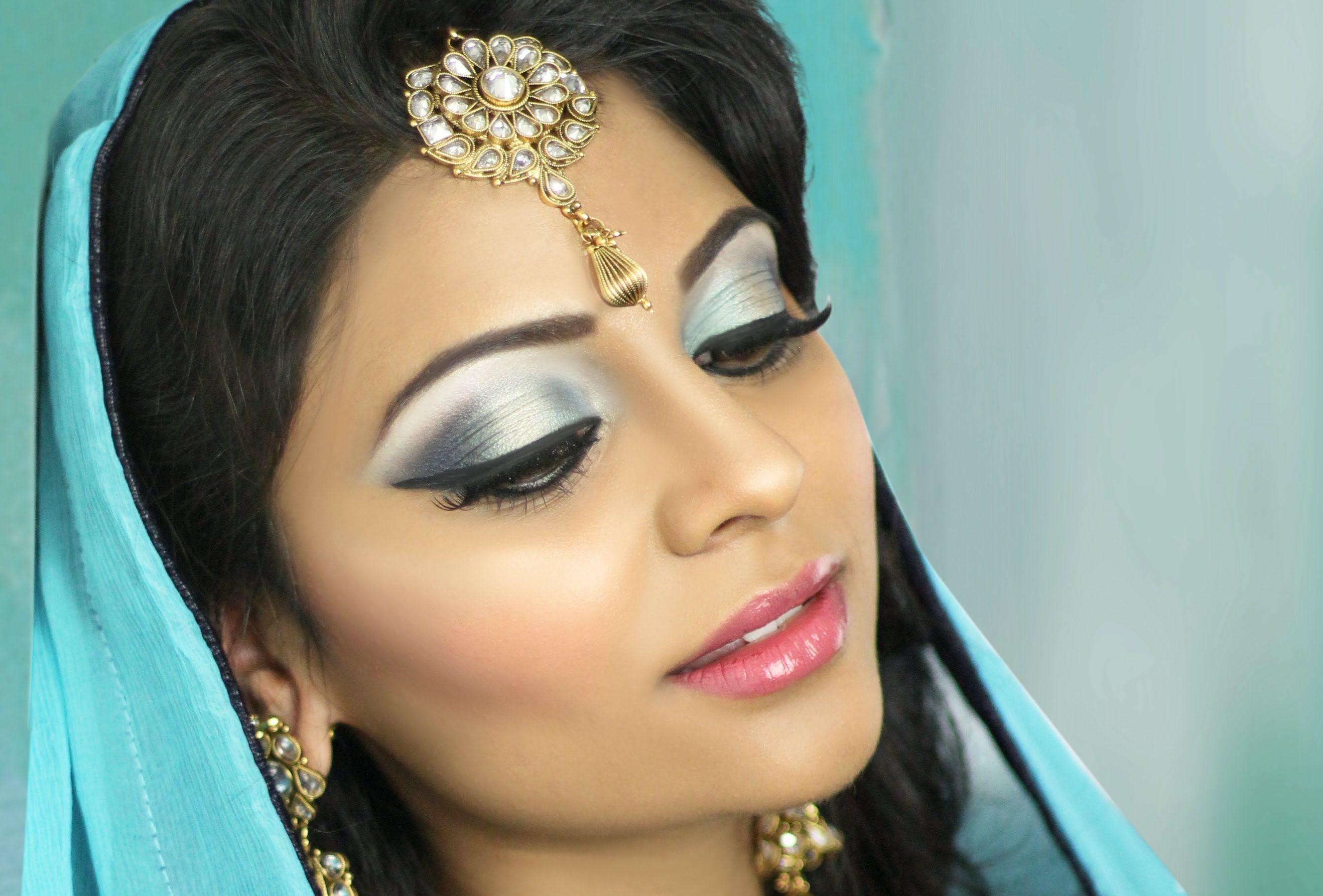 Asian Bridal Makeup Tutorial Blue Gold Smokey Eye مكياج In