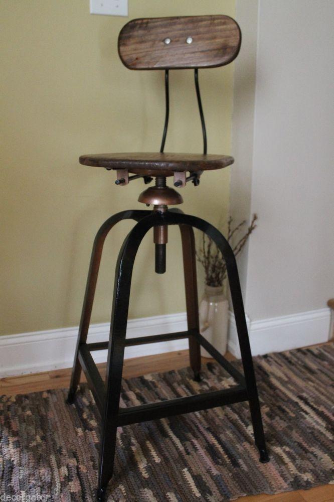 Vintage Corkscrew Industrial Bar Stool Oak Wood Iron Adjustable W Backrest