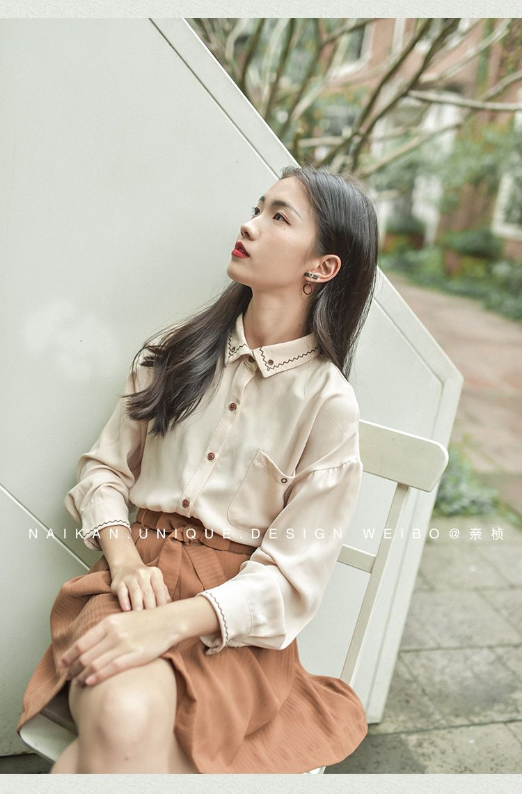 Chennai spring embroidery chiffon long-sleeved shirt female Han Fan Wenyi retro college wind loose student casual shirt - Taobao
