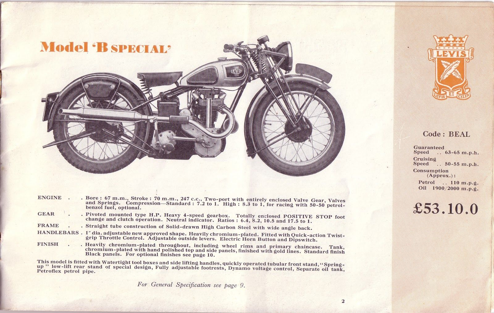 Red Devil Motors: Levis Motor Cycles 1938 brochure