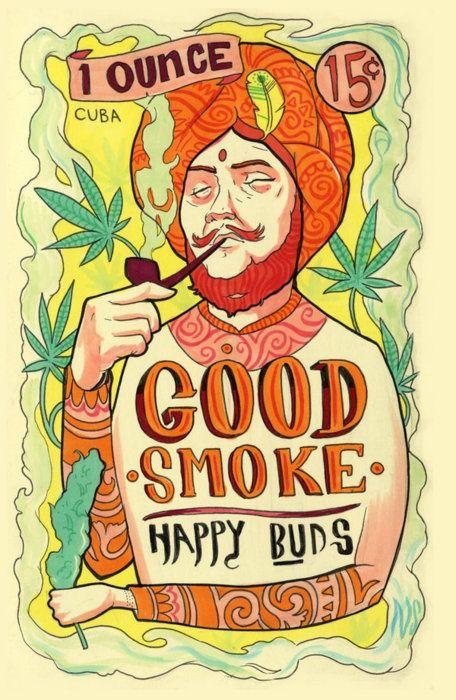 Good Smoke. Happy Buds. 1 ounce 15₵. Cuba | Vintage tobacco advert. @deFharo