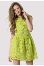 #Chicwish Floral Embroidered Dress in Neon Yellow
