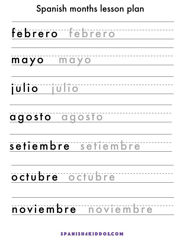 Spanish months lesson with free printable of writing ...