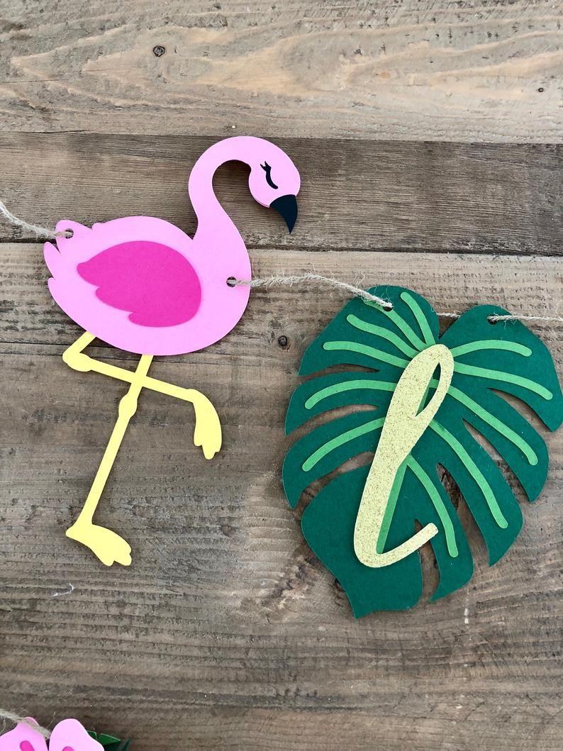 Bridal Shower Tropical Party Decorations Flamingo Banner