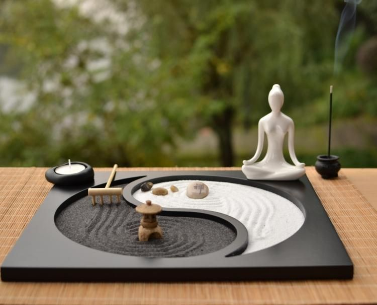 Zen Garden Sand Kit Wooden Craft Tabletop Decoration Mini Zen Garden Zen Garden Miniature Zen Garden