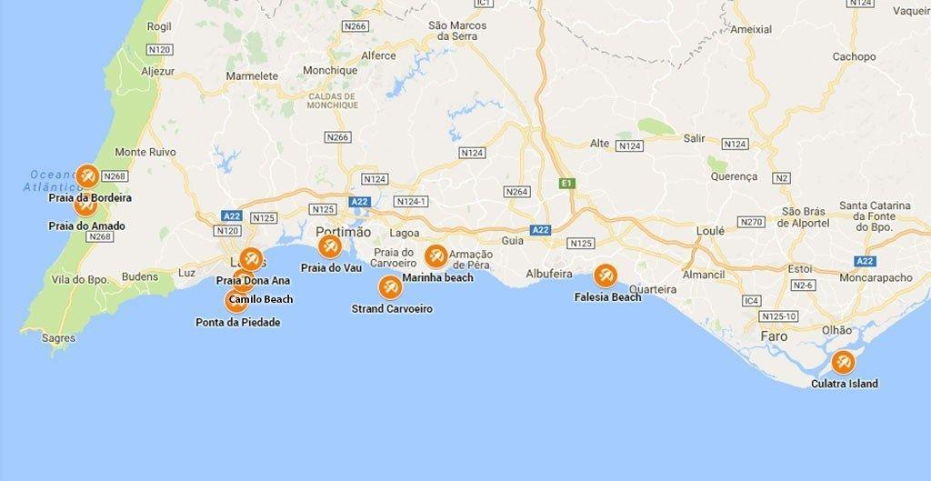 Mooiste Stranden Algarve Stranden Kaarten