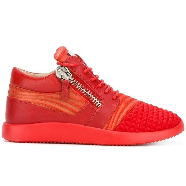 Giuseppe Zanotti Design Runner mid-top sneakers ($556) ❤ liked on Polyvore featuring shoes, sneakers, red, lace up sneakers, red trainers, high ankle sneakers, red sneakers and red leather sneakers