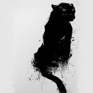 Dark paint black panther tattoo