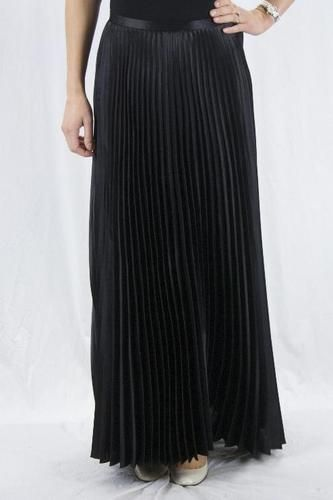 6 Joseph Ribkoff Black Satin Accordian Pleat Floor Length A Line Skirt 72726 | eBay
