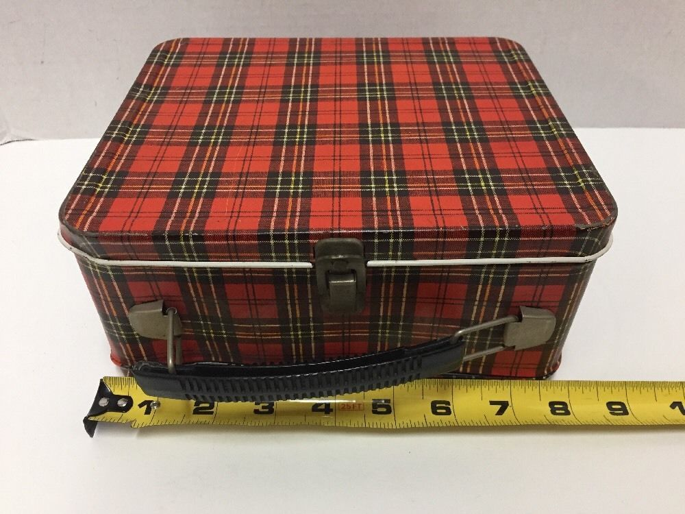 Vintage Lunch Box Red Plaid Aladdin Industries Inc Safety First