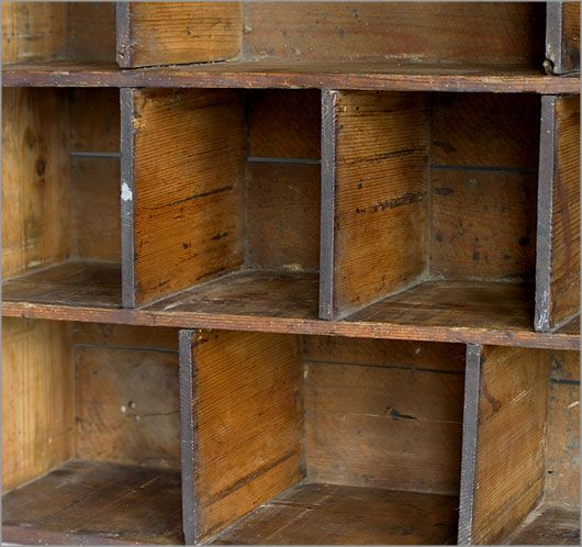 Vintage Pine Pigeon Hole Shelf With Handles