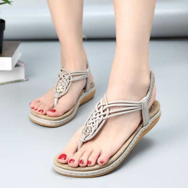 d0888f4ba SOCOFY Women Knitted Casual Beach Sandals - Banggood Mobile ...