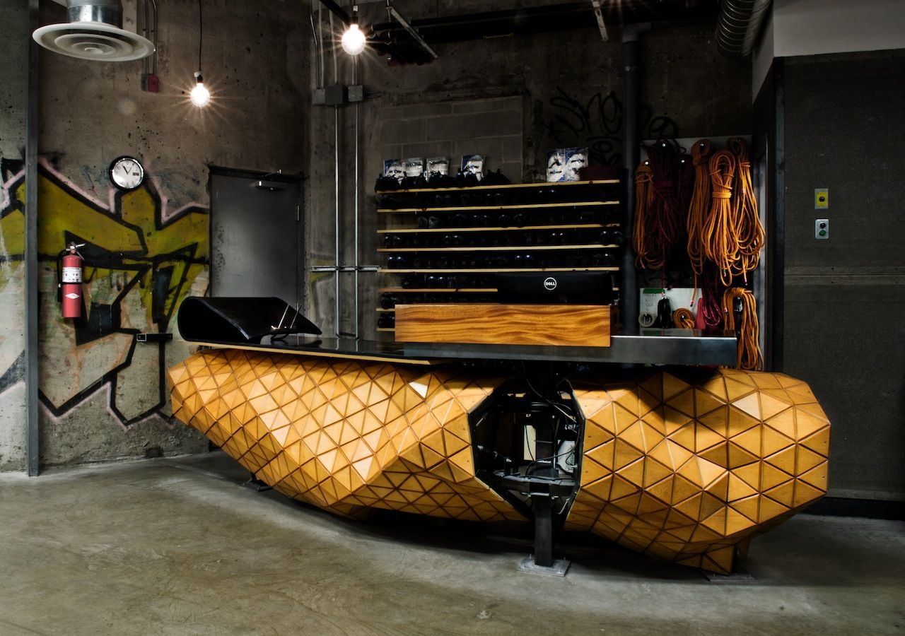 Allez up gym materials freeform organic parametric for Woodworks design office 9