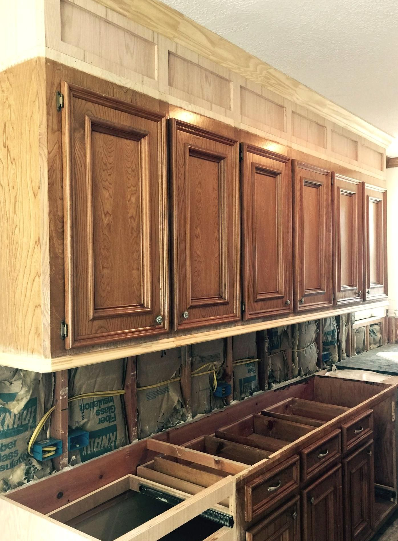 Kitchen Cabs Under Construction Extending Cabs To The Ceiling In 2020 Kitchen Soffit Kitchen Cabinets To Ceiling Old Kitchen Cabinets