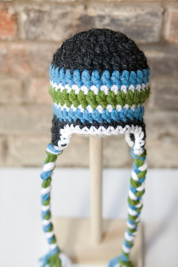 Newborn Crochet boy hat Green blue dark gray by SweetTsBoutique ... aa392450947