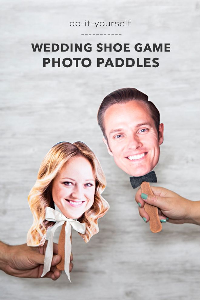 You Need To Make These Photo Paddles For The Wedding Shoe Game!