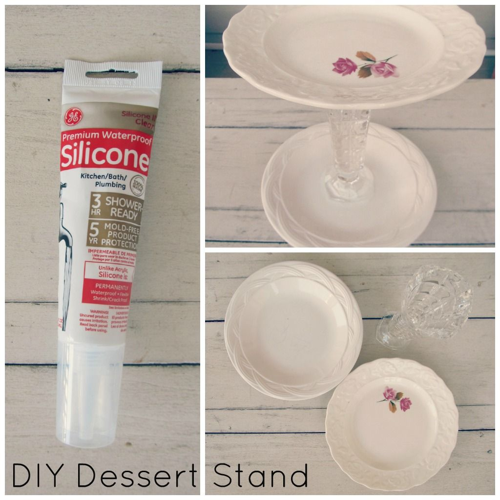 DIY Cupcake and Cake stands using vintage plates and glasses/candlesticks and kitchen silicone! Great for a bridal shower, baby shower or any shabby chic/vintage event! Cheap, easy and pretty!