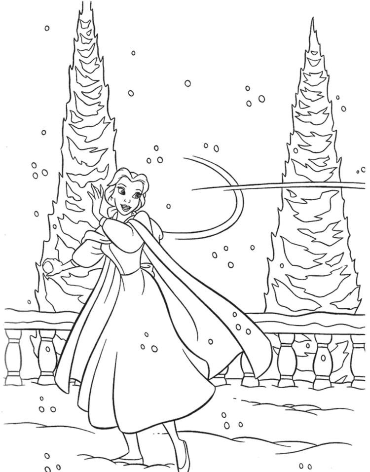 Beauty And The Beast Winter Coloring Pages Cartoon Coloring Pages Princess Coloring Pages Disney Princess Coloring Pages