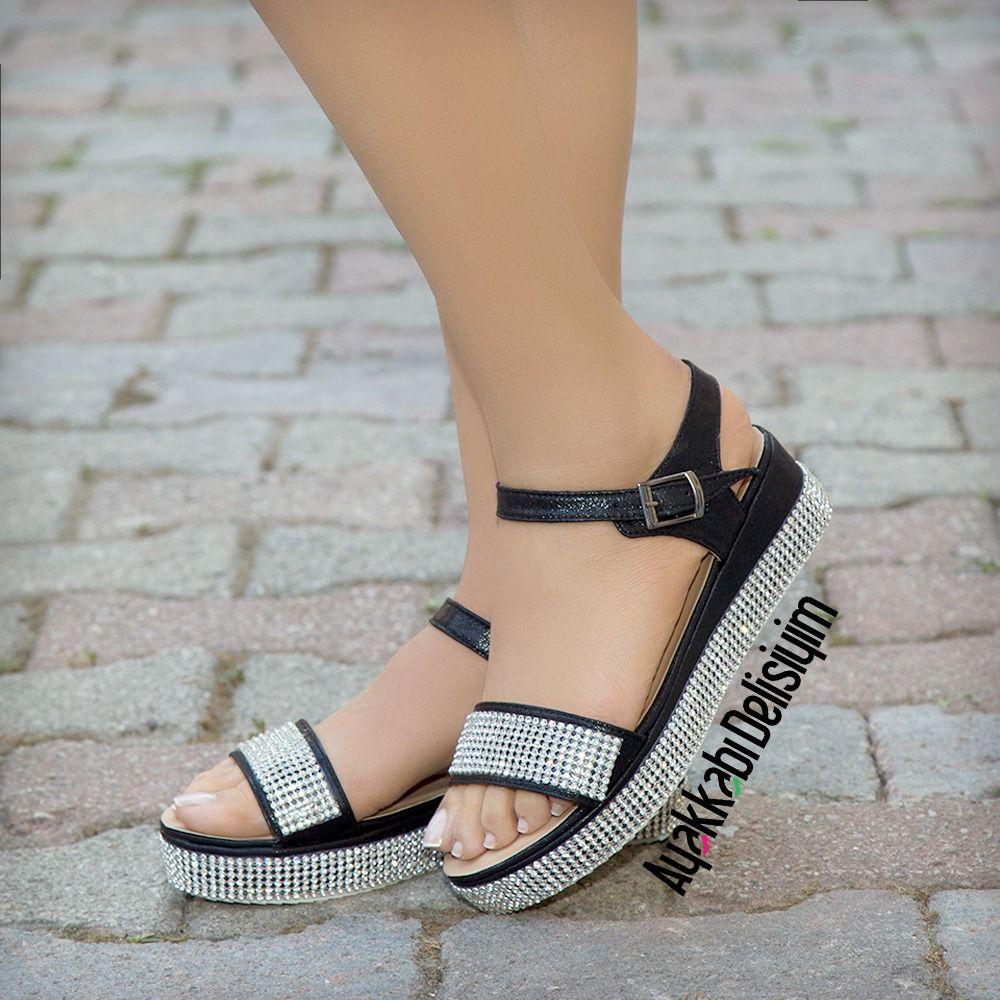Tasli Sandalet Black Sandals Sandalet Siyah Sandalet Topuklular