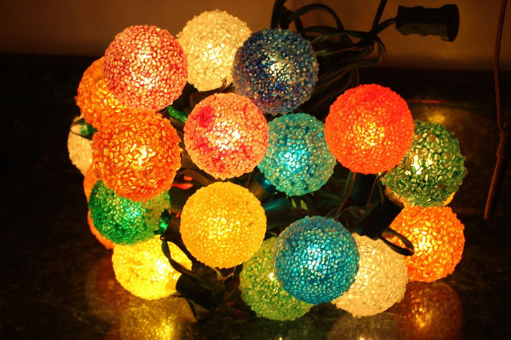 25 Vintage GE Lighted Ice Christmas Lights Bulbs Snowball Snow Ball ...