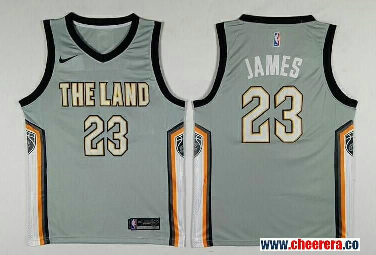 19bb026e9 Men s Cleveland Cavaliers  23 LeBron James Gray The City The Land 2017-2018  Nike Swingman Stitched NBA Jersey