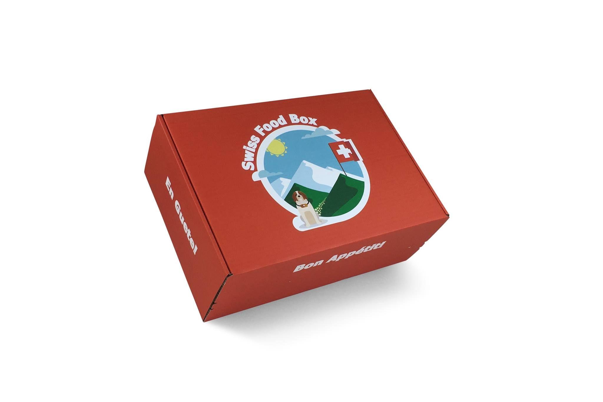 Schöne Launchverpackung von Swiss Food Box, die Kunden mit Heimweh auf jeder Seite in einem anderen Schweizer Zungenschlag anspricht. Gefällt uns sehr. http://www.swissfoodbox.ch/