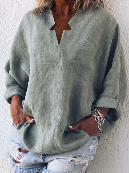 6928df80885594 Casual Long Sleeve Cotton-Blend Plain Blouses in 2019 | SEWING ...