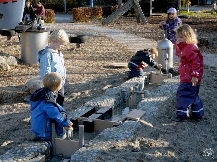 Water Playground In Frasdorf, Germany, By Richter Spielgeräte. Hand Pumped  Water Flows Through