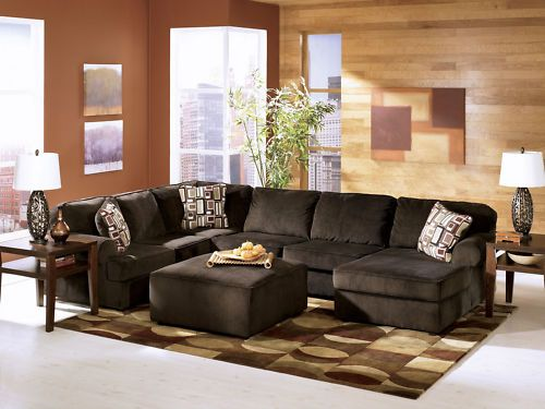 Morris Contemporary Chocolate Microfiber Sofa Couch Sectional Set Living  Room | EBay