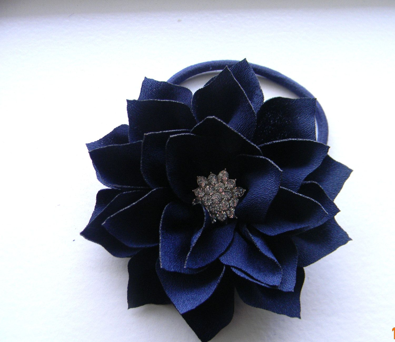 Navy Flower Corsage Navy Blue Lotus Flower On Stretchy Elastic Pony