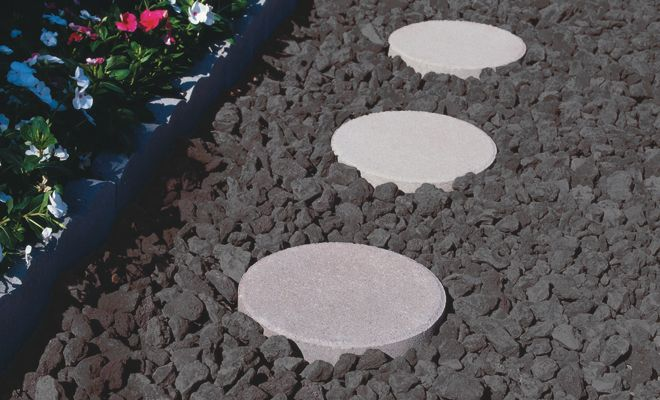 Black Volcanic Lava Rock With Patio Stone Walkway