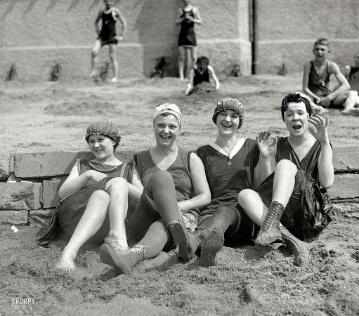 """Washington, D.C., 1920. """"Mary Claphet, Irene & Ella Sherer, Mary Facenire."""""""